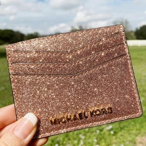 👛Michael Kors Large Card Holder Rose Gold Glitter
